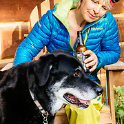 Drinking beer with Martha Hunt at her home in Whitefish, Montana. Her dog Bo grabbing some screen time.