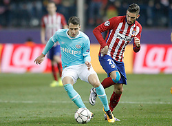 15-03-2016 ESP, UEFA CL, Atletico Madrid - PSV Eindhoven, Madrid<br /> Atletico de Madrid's Yannick Carrasco (r) and PSV Eindhoven's Santiago Arias // during the UEFA Champions League Round of 16, 2nd Leg match between Atletico Madrid and PSV Eindhoven at the Estadio Vicente Calderon in Madrid, Spain on 2016/03/15. <br /> <br /> ***NETHERLANDS ONLY***