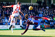 Scunthorpe United forward Kyle Wootton (29) acrobatically throws his foot at a cross during the EFL Sky Bet League 1 match between Scunthorpe United and Doncaster Rovers at Glanford Park, Scunthorpe, England on 23 February 2019.