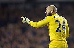 LONDON, ENGLAND - Sunday, November 30, 2014: Everton's goalkeeper Tim Howard looks dejected as Tottenham Hotspur score the winning second goal during the Premier League match at White Hart Lane. (Pic by David Rawcliffe/Propaganda)