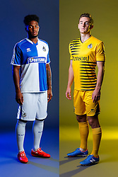 Ellis Harrison and Tom Lockyer of Bristol Rovers pose in the new Home and Away Strips respectively, ahead of the 2015/16 Sky Bet League Two campaign - Mandatory byline: Rogan Thomson/JMP - 07966 386802 - 22/07/2015 - SPORT - Football - Bristol, England - Memorial Stadium - Bristol Rovers Kit Launch.