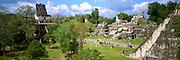 GUATEMALA, MAYAN, TIKAL the Great Plaza, Temple II and Temple I