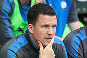 Chesterfield manager Gary Caldwell during the Pre-Season Friendly match between Chesterfield and Rotherham United at the b2net stadium, Chesterfield, England on 25 July 2017. Photo by John Potts.