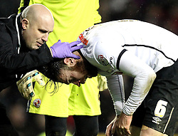 Blood pours from Richard Keogh of Derby County's nose - Mandatory byline: Robbie Stephenson/JMP - 12/01/2016 - FOOTBALL - iPro Stadium - Derby, England - Derby County v Reading - Sky Bet Championship