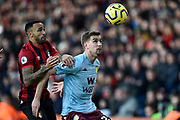 Callum Wilson (13) of AFC Bournemouth battles for possession with Bjorn Engels (22) of Aston Villa during the Premier League match between Bournemouth and Aston Villa at the Vitality Stadium, Bournemouth, England on 1 February 2020.