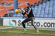 Brentford goalkeeper David Button  during the Sky Bet Championship match between Sheffield Wednesday and Brentford at Hillsborough, Sheffield, England on 13 February 2016. Photo by Simon Davies.