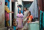 Nazma Akter (right) out visting garment workers in Dhaka, Bangladesh. <br /> <br /> Nazma is the President of Awaj Foundation. The Foundation was founded by Zazma in 2003 to support and empower garment workers to negotiate safer and fairer working conditions.