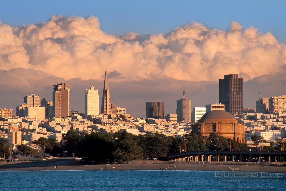 Storm clouds over San Francisco city skyline, California