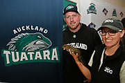 Baseball player Andrew Marck and Auckland Zoo's for a photo with a Tuatara as the new Auckland Tuatara baseball team is announced to play in the Australian Baseball League at the Centre for Conservaion Medicine at Auckland Zoo. New Zealand. Monday 27 August 2018. © Copyright Image: Andrew Cornaga / www.photosport.nz