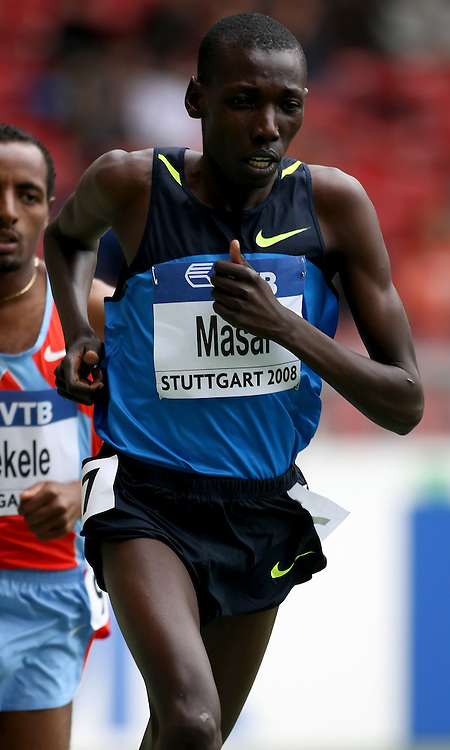 (Stuttgart, Germany---14 September 2008) Moses Ndiemea Masai of Kenya running in the 5000m at the 2008 World Athletics Final. [Copyright Sean W. Burges/Mundo Sport Images, 2008.]