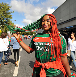 Kany Kazadi Pictured on her way to the All Ireland Football Final<br /> Pic Conor McKeown