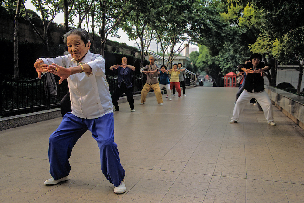 The Bund hosts all kinds of activities.  This group practices tai chi every morning.