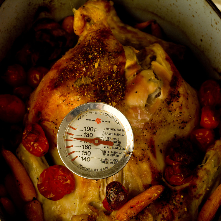 Meat thermometer being used to measure the temperature of cooked chicken.