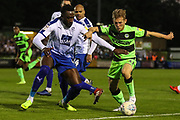 Forest Green Rovers George Williams(11) takes on Tranmere Rovers Emmanuel Monthe(6) during the EFL Sky Bet League 2 second leg Play Off match between Forest Green Rovers and Tranmere Rovers at the New Lawn, Forest Green, United Kingdom on 13 May 2019.