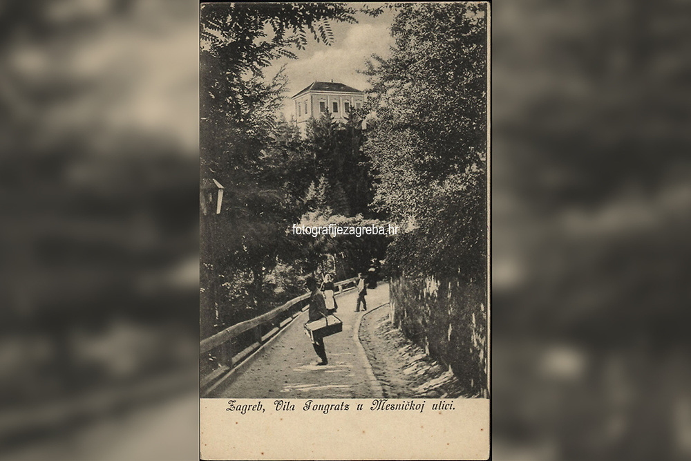 Zagreb : Vila Pongratz u Mesničkoj ulici. <br /> <br /> ImpresumZagreb : Naklada A. Brusine, [između 1900 i 1906].<br /> Materijalni opis1 razglednica : tisak ; 14 x 9 cm.<br /> SuradnikMosinger, Rudolf(1865.–1918.)<br /> NakladnikTiskara A. Brusina<br /> Mjesto izdavanjaZagreb<br /> Vrstavizualna građa • razglednice<br /> ZbirkaGrafička zbirka NSK • Zbirka razglednica<br /> Formatimage/jpeg<br /> PredmetZagreb –– Mesnička ulica<br /> SignaturaRZG-MESN-12<br /> Obuhvat(vremenski)20. stoljeće<br /> NapomenaRazglednica nije putovala. • Palača je od 1887.-1930. godine u vlasništvu Guida Pongratza (otuda naziv Pongračev dvorac ili kuća). Od 1835.-1887. godine palača je u vlasništvu grofa Aleksandara Draškovića (otuda naziv Kuća Aleksandra Draškovića u Visokoj ulici br. 22). • Razglednica je izrađena prema fotografiji R. Mosingera.<br /> PravaJavno dobro<br /> Identifikatori000954899<br /> NBN.HRNBN: urn:nbn:hr:238:140304 <br /> <br /> Izvor: Digitalne zbirke Nacionalne i sveučilišne knjižnice u Zagrebu