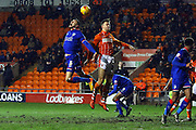 Oldham Athletic Defender,James Wilson defends during the Sky Bet League 1 match between Blackpool and Oldham Athletic at Bloomfield Road, Blackpool, England on 16 February 2016. Photo by Pete Burns.