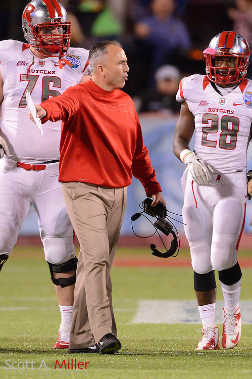 Rutgers Scarlet Knights head coach Kyle Flood during the Russell Athletic Bowl against the Virginia Tech Hokies on Dec 28, 2012 in Orlando, Florida. ...©2012 Scott A. Miller..