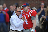 Ole Miss Rebels quarterback Bo Wallace (14) and Ole Miss Rebels head coach Hugh Freeze vs. Mississippi State at Vaught-Hemingway Stadium in Oxford, Miss. on Saturday, November 29, 2014.