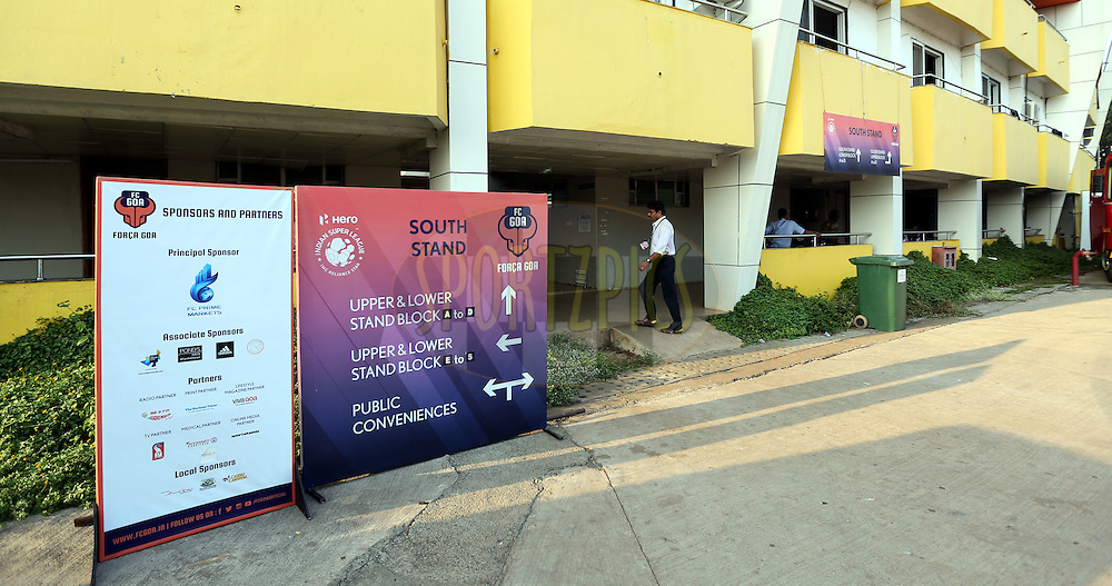 Signage during match 39 of the Indian Super League (ISL) season 2  between FC Goa and Mumbai City FC held at the Jawaharlal Nehru Stadium, Fatorda, Goa, India on the 17th November 2015.<br /> <br /> Photo by Sandeep Shetty / ISL/ SPORTZPICS