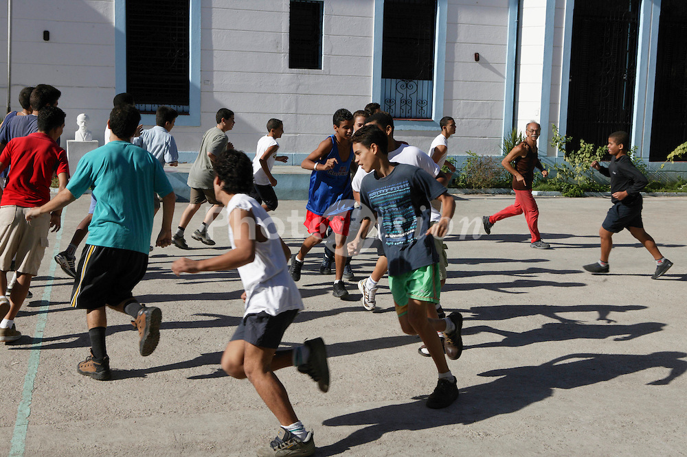PE lesson at Carlos J Finlay secondary school; Havana; Cuba,