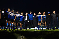 Director of Rugby Stuart Hooper speaks to his team in a post-match huddle - Mandatory byline: Patrick Khachfe/JMP - 07966 386802 - 09/11/2019 - RUGBY UNION - The Recreation Ground - Bath, England - Bath Rugby v Northampton Saints - Gallagher Premiership