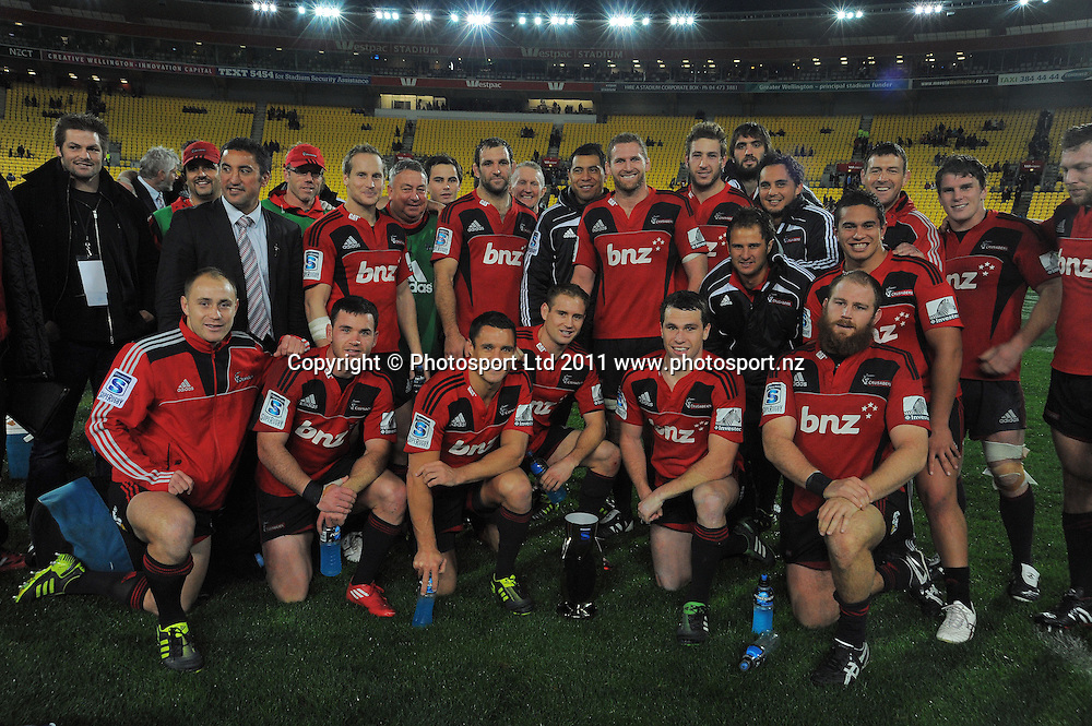 The Crusaders pose for a team photo with the trophy. Super 15 rugby match - Crusaders v Hurricanes at Westpac Stadium, Wellington, New Zealand on Saturday, 18 June 2011. Photo: Dave Lintott / photosport.co.nz