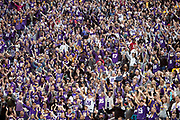 Minnesota Vikings fans do the SKOL cheer as they wave their arms during the NFL week 6 regular season football game against the Arizona Cardinals on Sunday, Oct. 14, 2018 in Minneapolis. The Vikings won the game 27-17. (©Paul Anthony Spinelli)