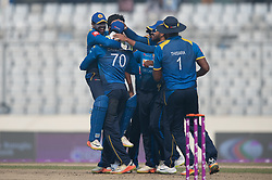 January 25, 2018 - Dhaka, Dhaka, Bangladesh - Sri Lanka Team celebrating during the 6th ODI match in the Tri-series between Sri Lanka vs Bangladesh at the Sher-e-Bangla National Cricket Stadium in Mirpur, Dhaka on 25th  January 2018. (Credit Image: © Sameera Peiris/Pacific Press via ZUMA Wire)
