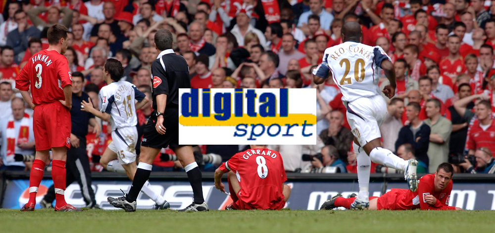 Photo: Daniel Hambury.<br />Liverpool v West Ham United. The FA Cup Final. 13/05/2006.<br />Liverpool's players show dejection as West Ham's run to celebrate their second goal.