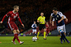 GLASGOW, SCOTLAND - Tuesday, March 29, 2016: Denmark's Nicolai Jorgensen in action during the friendly game against Scotland at Hampden Park. (Pic by Lexie Lin/Propaganda)