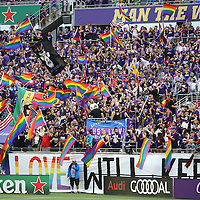 ORLANDO, FL - JUNE 18:  Fans wave flags at the start of an MLS soccer match between the San Jose Earthquakes and the Orlando City SC at Camping World Stadium on June 18, 2016 in Orlando, Florida. (Photo by Alex Menendez/Getty Images) *** Local Caption ***