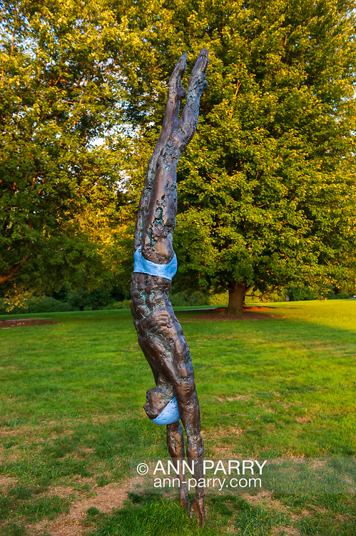 "Old Westbury, New York, U.S., September 1, 2019. ""Athlete III - Deep Plunge"" is one of 33 outdoor sculptures by Jerzy Kedziora (Jotka), b. 1947 in Poland, and his Balance in Nature art is on view on the grounds of historic Old Westbury Gardens in Long Island, until October 20, 2019. The life-size, bronze resin balancing sculpture, dressed in blue swimwear, appears about to dive into the lawn."
