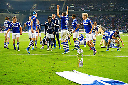 23.07.2011, Veltins arena, Gelsenkirchen, GER, Supercup, FC Schalke 04 vs. Borussia Dortmund, im Bild Schalkes Spieler bejubeln den Sieg im Supercup 2011 // during the match FC Schalke 04 vs. Borussia Dortmund at Veltins arena 2011/07/23    EXPA Pictures © 2011, PhotoCredit: EXPA/ nph/  Kurth       ****** out of GER / CRO  / BEL ******