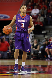 15 January 2016: Jaylon Brown(3) during the Illinois State Redbirds v Evansville Purple Aces at Redbird Arena in Normal Illinois (Photo by Alan Look)
