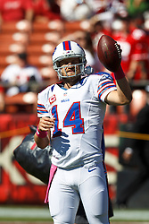 SAN FRANCISCO, CA - OCTOBER 07: Quarterback Ryan Fitzpatrick #14 of the Buffalo Bills warms up before the game against the San Francisco 49ers at Candlestick Park on October 7, 2012 in San Francisco, California. The San Francisco 49ers defeated the Buffalo Bills 45-3. Photo by Jason O. Watson/Getty Images) *** Local Caption *** Ryan Fitzpatrick