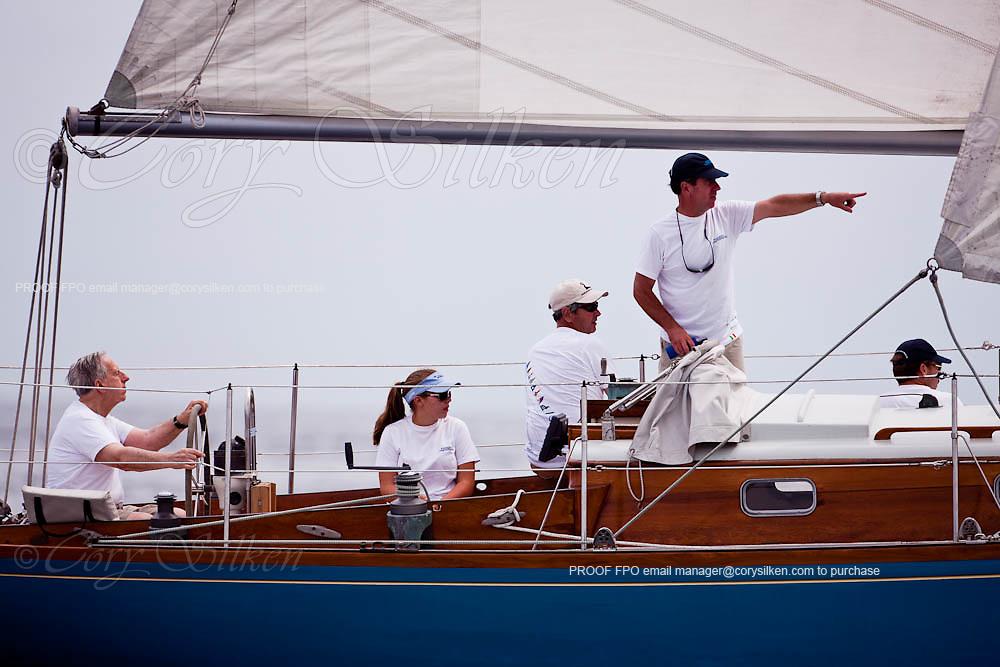 Robin sailing in the Corinthian Classic Yacht Regatta, race one.
