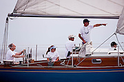 Robin sailing in the Corinthian Classic Yacht Regatta, race one.