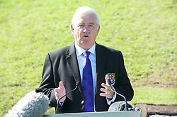 CARDIFF, WALES - Wednesday, September 9, 2009: President Phil Pritchard speaks to the media at the opening of the Wales national team training pitch ahead of the FIFA World Cup Qualifying Group 3 match against Russia. (Pic by David Rawcliffe/Propaganda)