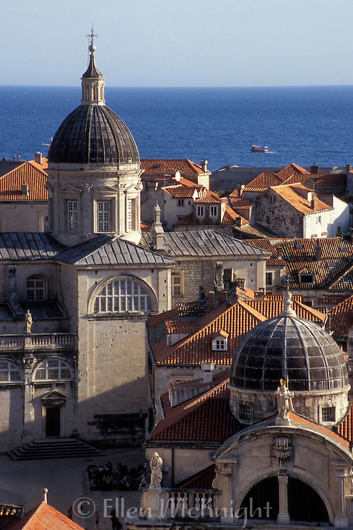 View of St. Blaise Cathedral and City of Dubrovnik
