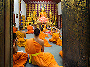 "12 MARCH 2016 - LUANG PRABANG, LAOS: Buddhist monks at a meditation and chanting service at their temple in Luang Prabang. Luang Prabang was named a UNESCO World Heritage Site in 1995. The move saved the city's colonial architecture but the explosion of mass tourism has taken a toll on the city's soul. According to one recent study, a small plot of land that sold for $8,000 three years ago now goes for $120,000. Many longtime residents are selling their homes and moving to small developments around the city. The old homes are then converted to guesthouses, restaurants and spas. The city is famous for the morning ""tak bat,"" or monks' morning alms rounds. Every morning hundreds of Buddhist monks come out before dawn and walk in a silent procession through the city accepting alms from residents. Now, most of the people presenting alms to the monks are tourists, since so many Lao people have moved outside of the city center. About 50,000 people are thought to live in the Luang Prabang area, the city received more than 530,000 tourists in 2014.       PHOTO BY JACK KURTZ"