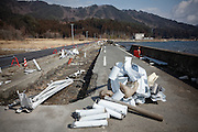 Yamada, February 24 2012 - On a road next to the sea, scars of the tsunami and the earthquake that hit Japan one year before.