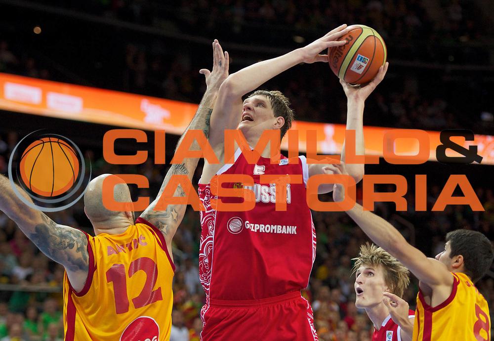 DESCRIZIONE : Kaunas Lithuania Lituania Eurobasket Men 2011 Finale Terzo Quarto Posto Classification Game for 3rd to 4th Place Macedonia Russia F.Y.R of Macedonia Russia<br /> GIOCATORE : Timofey Mozgov<br /> SQUADRA : Russia<br /> EVENTO : Eurobasket Men 2011<br /> GARA : Macedonia Russia F.Y.R of Macedonia Russia<br /> DATA : 18/09/2011 <br /> CATEGORIA : tiro shot<br /> SPORT : Pallacanestro <br /> AUTORE : Agenzia Ciamillo-Castoria/T.Wiedensohler<br /> Galleria : Eurobasket Men 2011 <br /> Fotonotizia : Kaunas Lithuania Lituania Eurobasket Men 2011 Finale Terzo Quarto Posto Classification Game for 3rd to 4th Place Macedonia Russia F.Y.R of Macedonia Russia<br /> Predefinita :
