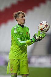 LIVERPOOL, ENGLAND - Tuesday, December 9, 2014: FC Basel's goalkeeper Andres Zimmermann in action against Liverpool during the UEFA Youth League Group B match at Langtree Park. (Pic by David Rawcliffe/Propaganda)