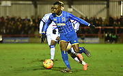 David Omperon on the attack during the FA Youth Cup match between U18 AFC Wimbledon and U18 Chelsea at the Cherry Red Records Stadium, Kingston, England on 9 February 2016. Photo by Michael Hulf.