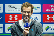 Andy Murray at a press conference ahead of the Andy Murray Live event at SSE Hydro, Glasgow, Scotland on 7 November 2017. Photo by Craig Doyle.