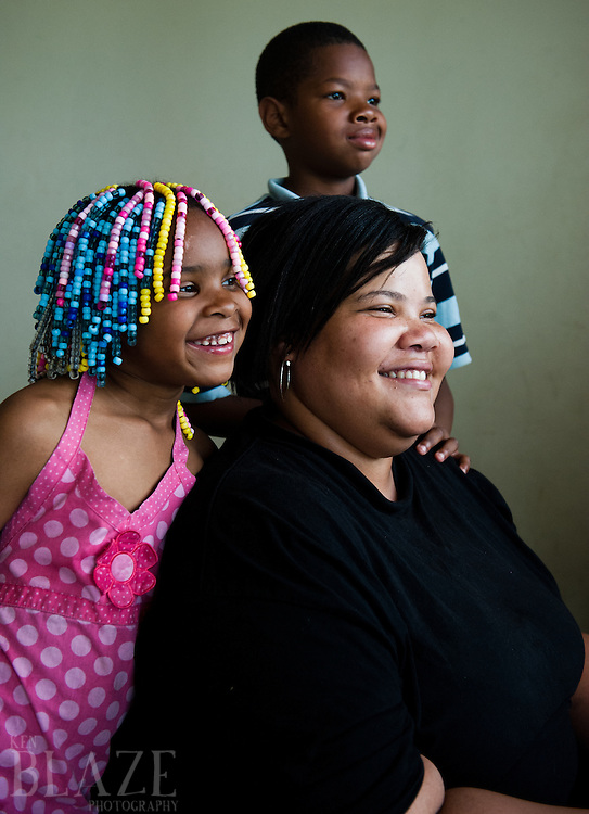 Mia Landingham with son Ja'mye, eight, and La'naja, six of Cleveland, OH