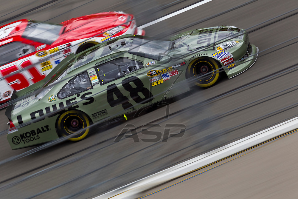 KANSAS CITY, KS - APR 22, 2012:  Jimmie Johnson (48) races during the STP 400 at the Kansas Speedway in Kansas City, KS.