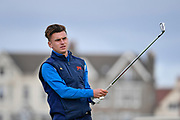 Conor Gough (GB&I) plays from the second tee during the Saturday morning Foursomes in the Walker Cup at the Royal Liverpool Golf Club, Saturday, Sept 7, 2019, in Hoylake, United Kingdom. (Steve Flynn/Image of Sport)