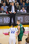 Golden State Warriors head coach Steve Kerr watches as his team hosts the Boston Celtics at Oracle Arena in Oakland, Calif., on March 8, 2017. (Stan Olszewski/Special to S.F. Examiner)