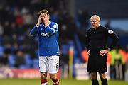 Brett Pitman (8) of Portsmouth covers his face with his hands after Christian Burgess (6) of Portsmouth is red carded and sent off by referee Graham Salisbury during the EFL Sky Bet League 1 match between Portsmouth and Doncaster Rovers at Fratton Park, Portsmouth, England on 3 February 2018. Picture by Graham Hunt.
